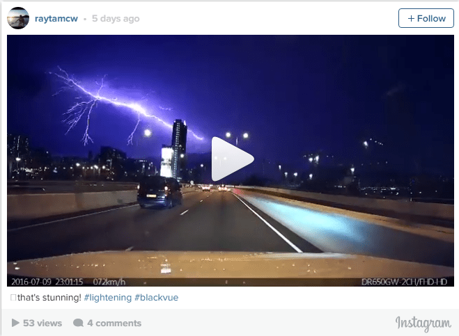Spectacular lightning storm caught on BlackVue DR650GW-2CH