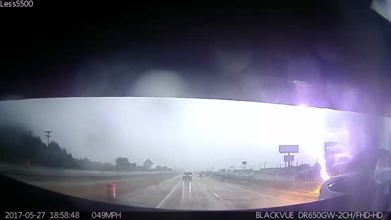 [Video] Lightning Striking a Few Meters Away on Highway