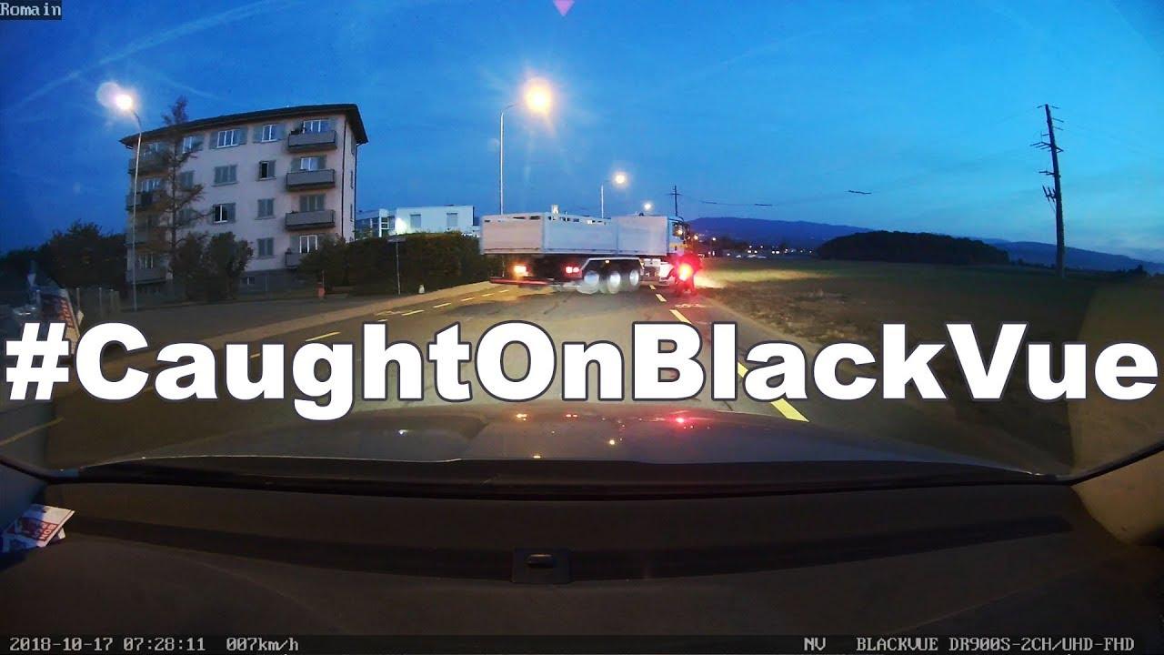 Guy Avoids Hitting Truck, Falls From His Bike #CaughtOnBlackVue