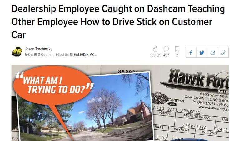 Another Dealership Joyriding Customer's Car Caught On Dashcam