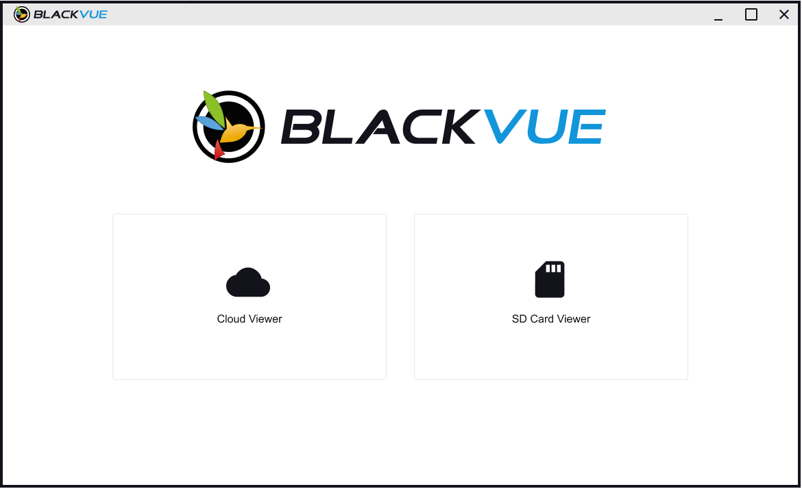 BlackVue Viewer Welcome Screen