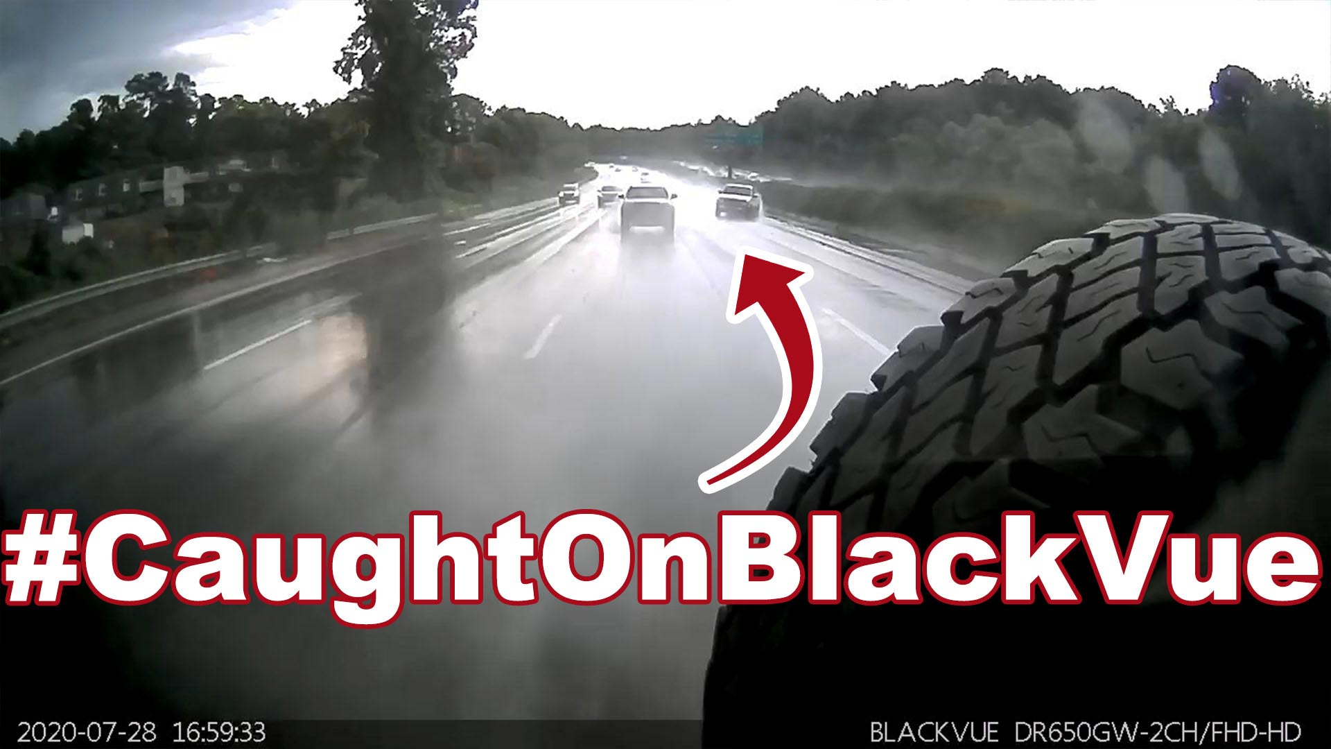 Truck Hydroplaning On A Highway #CaughtOnBlackVue