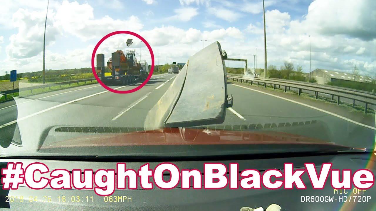 Cargo Flies Off Truck, Damages Car On A Highway #CaughtOnBlackVue