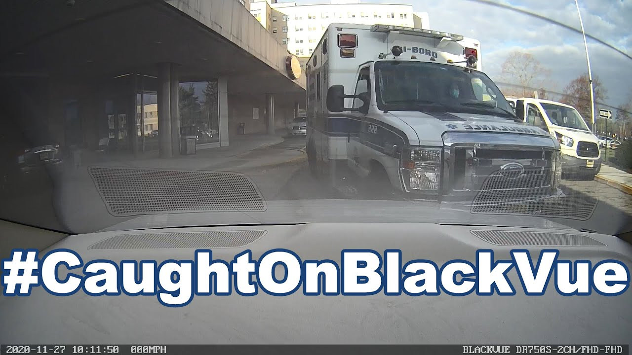 Ambulance Hits Parked Car #CaughtOnBlackVue