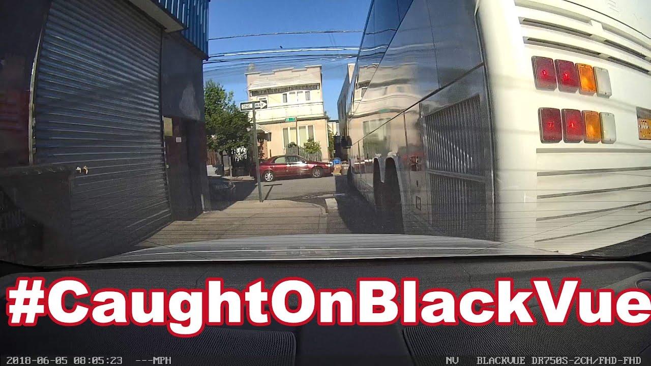 Tour Bus Hits Parked Car #CaughtOnBlackVue