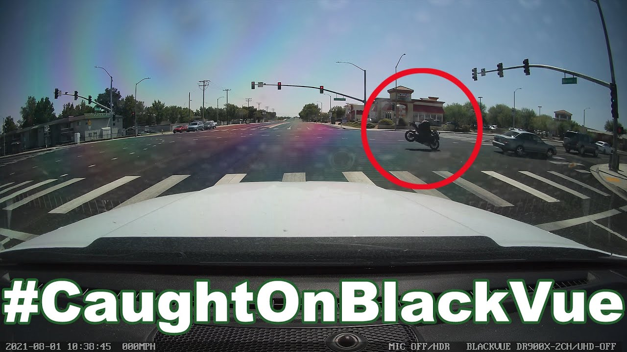 Motorbike SOMERSAULTS on an Intersection #CaughtOnBlackVue