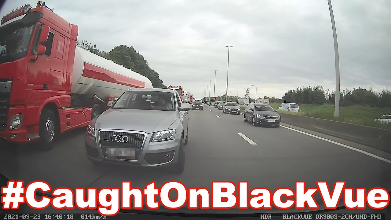 Truckers' Revenge On Aggressive Driver #CaughtOnBlackVue